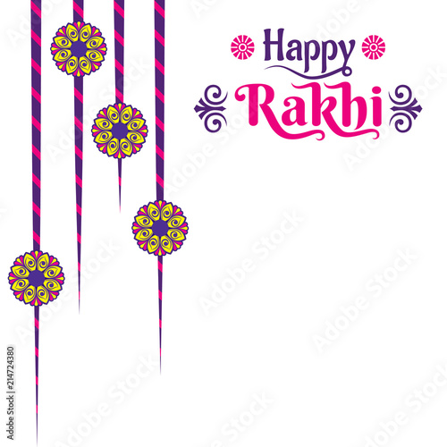Valokuva  decorative happy rakhi festival greeting card design