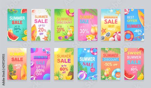 Fotografía  Best Summer Sale Posters Set Vector Illustration