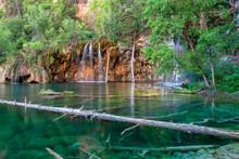 Waterfalls And Lake In Hanging Lake, Colorado State, USA
