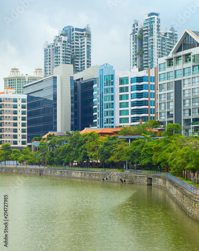 Photo  Singapore modern architecture embankment river