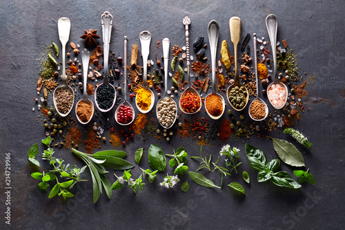Printed kitchen splashbacks Spices Herbs and spices on black board