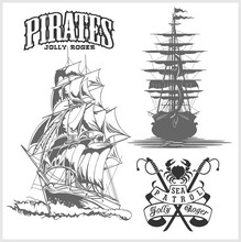 Sea Emblem - Pirate Ship And Jolly Roger