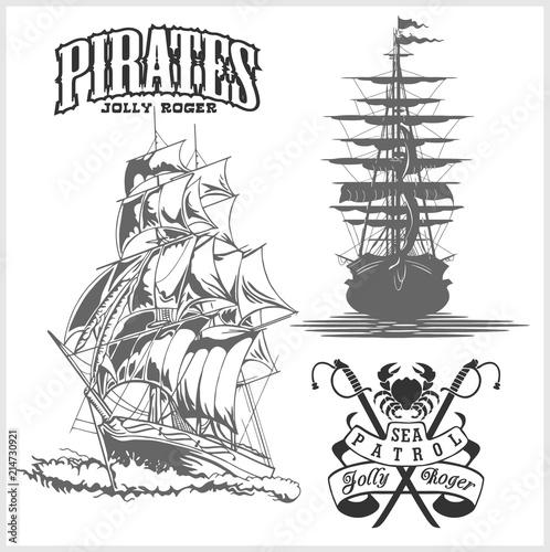 Sea emblem - pirate ship and jolly roger Canvas Print