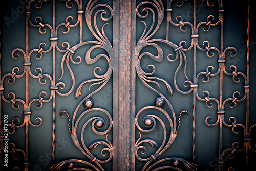Foto  beautiful decorative metal elements forged wrought iron gates