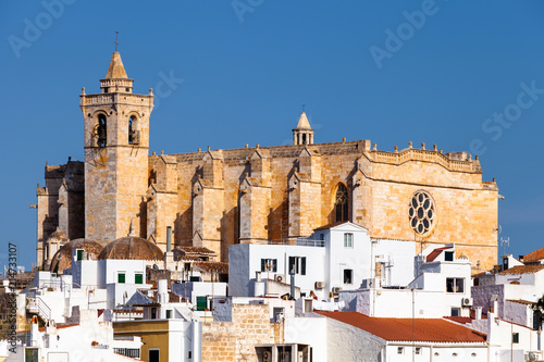 Foto View of the Santa Maria de Ciutadella Cathedral, in Ciutadella, Menorca