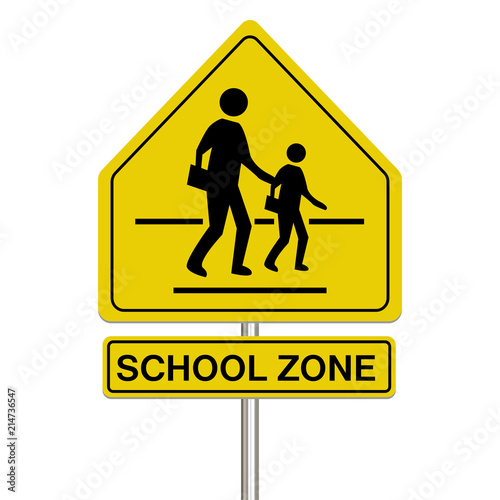 Tablou Canvas school zone sign on a white background
