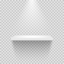 Vector Empty White Shelf Isolated On Transparent Background.