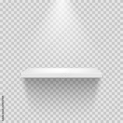 Cuadros en Lienzo  Vector empty white shelf isolated on transparent background.