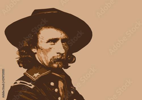 Obraz na plátně Général Custer - portrait - personnage - historique - célèbre - américain - mili