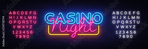 Fotografering Casino Night Neon sign vector design template
