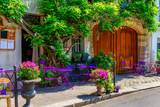 Fototapeta Uliczki - Cozy street with flowers and tables of cafe  in Paris, France