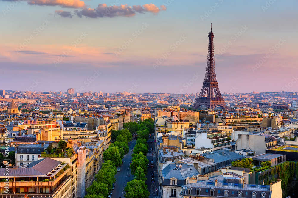 Fototapety, obrazy: Skyline of Paris with Eiffel Tower in Paris, France. Panoramic sunset view of Paris