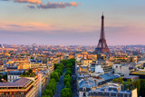 Fototapeta Paris - Skyline of Paris with Eiffel Tower in Paris, France. Panoramic sunset view of Paris