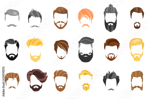 Fotomural Hair, beard and face, hair, mask cutout cartoon flat collection