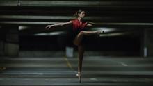 Portrait Of Ballet Dancer On Pointe In An Underground Car Park