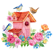 Birdhouse Birds And Flowers. W...