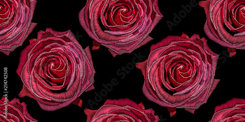 Türaufkleber Künstlich Seamless decorative pattern rose stylized texture of embroidery, imitation of ornamental satin stitch. Vector pattern for printing on fabric, clothes, shawl, headscarf, dress.