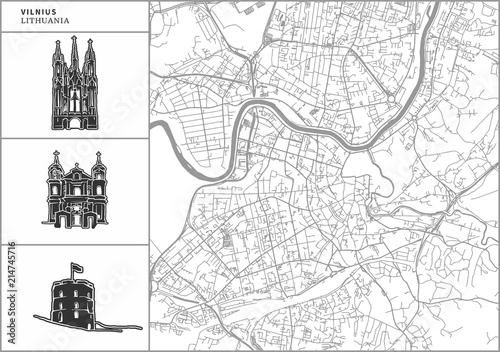 Vilnius city map with hand-drawn architecture icons Fototapet