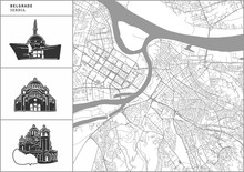 Belgrade City Map With Hand-dr...