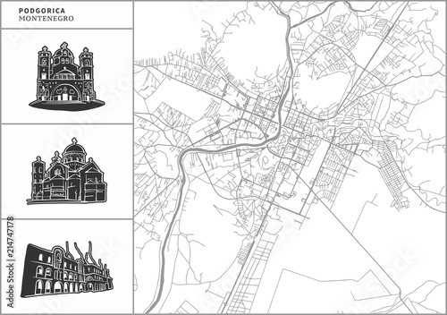 Obraz na plátně Podgorica city map with hand-drawn architecture icons