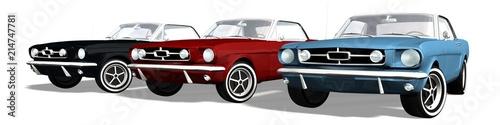 set of Classical Sports Car