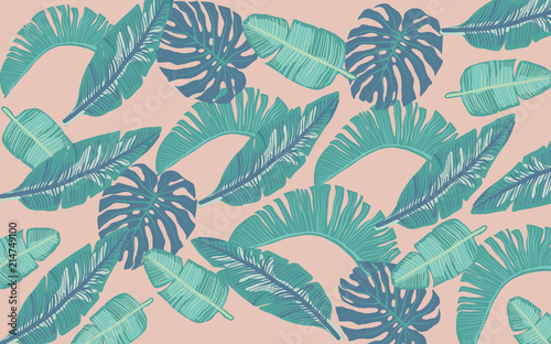 Tropical Leaves with pink Background