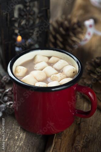 Printed kitchen splashbacks Chocolate Cocoa drink with marshmallow