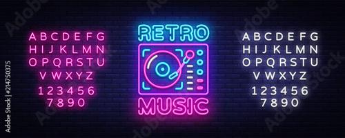 Valokuva  Retro Music neon sign vector