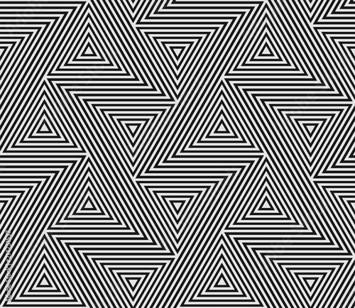 Naklejka premium Abstrakcjonistyczny geometryczny wzór bezszwowe trójbok mozaiki siatki linie. Modny nowoczesny wzór tła wektor Bauhaus