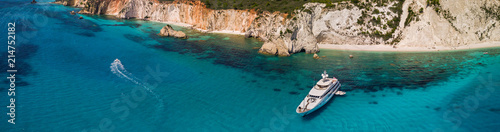 Panoramic view of Anchoring yacht in bay Fototapeta