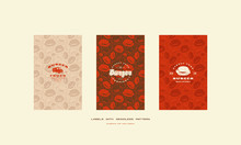 Set Of Menu Cover And Seamless Pattern For Burger Restaurant