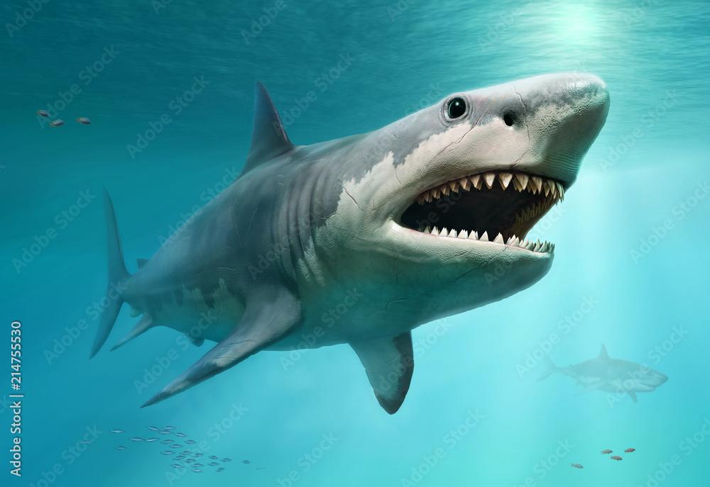 Megalodon scene 3D illustration
