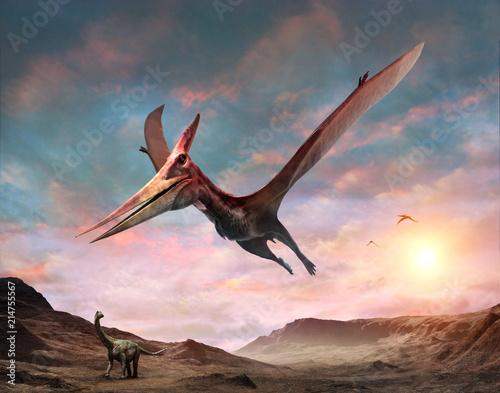 Foto auf Leinwand Rosa hell Pteranodon scene 3D illustration