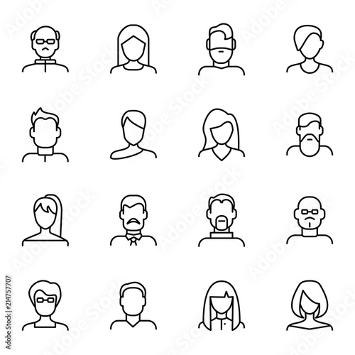 Fototapeta Face Various Types Signs Black Thin Line Icon Set. Vector obraz