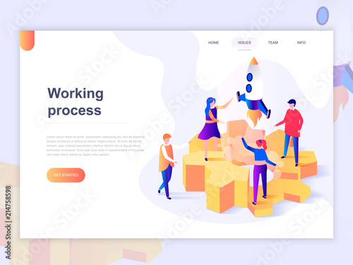 Photo  Landing page template of business processes and office situations