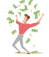 A Cartoon Man Standing Under Money Rain Banknotes And Coins. Businessman Celebrates Success.