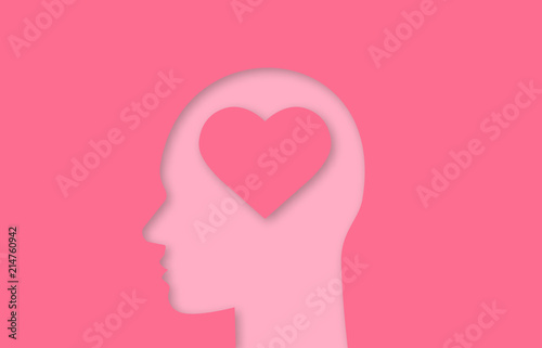 Human head with heart shape inside paper cut out icon Fototapet
