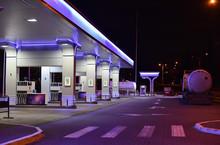 Gas Station In Winter Night
