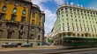 sunny day milan city center traffic street panorama 4k timelapse italy