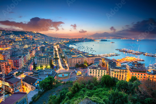 Door stickers European Famous Place Naples, Italy. Aerial cityscape image of Naples, Campania, Italy during sunrise.