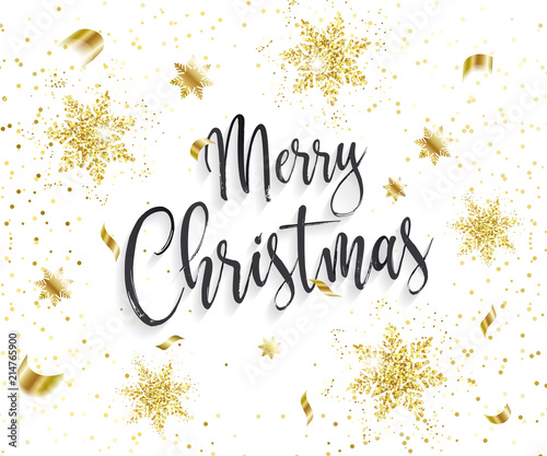 Cute Merry Christmas Background With Glamour Golden Glitter