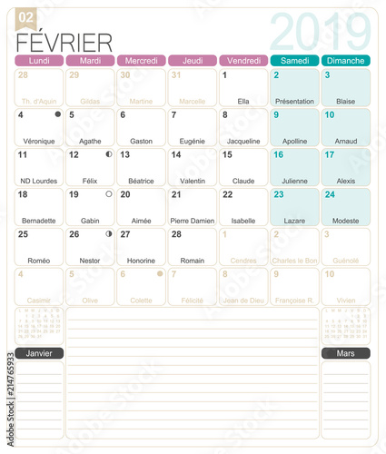 photo about Printable February Calander titled French Calendar - February 2019 / French calendar 2019