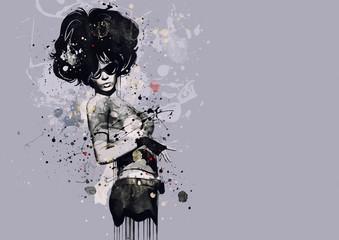 Naklejka Fashion woman in style of cabaret. Watercolor illustration, grunge fashion