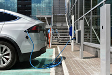 Electric Car Charge On Charging Station