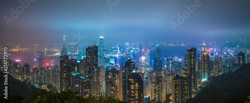 Panoramic view of Hong Kong city skyline at night
