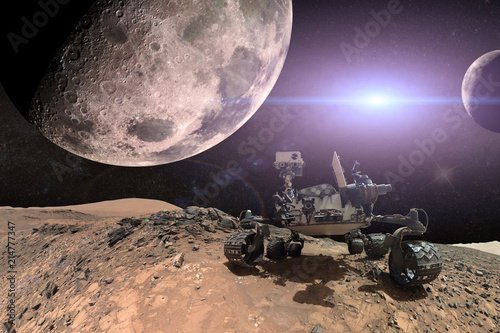 Foto op Aluminium Aubergine Curiosity Mars Rover exploring the surface of red planet. Elements of this image furnished by NASA.