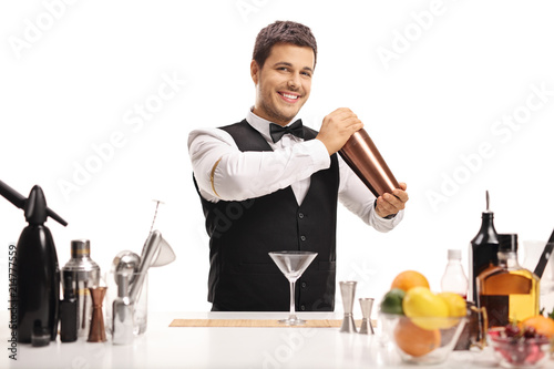 Photo Barman with a shaker