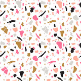 Terrazzo seamless pattern. Vector abstract background with chaotic stains. Collage design in gold, black and magenta colors. - 214778138