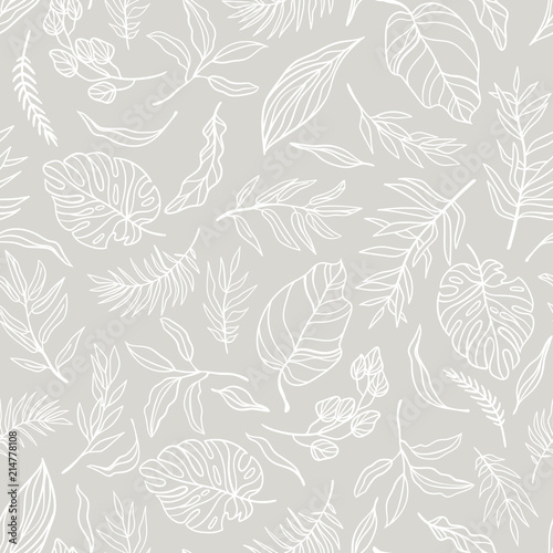 Obrazy szare  vector-elegant-seamless-background-with-foliage-wedding-endless-pattern-in-light-grey-color