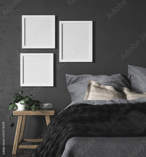 Foto auf AluDibond Boho-Stil Mock-up frames in dark ethnic bedroom interior, 3d render